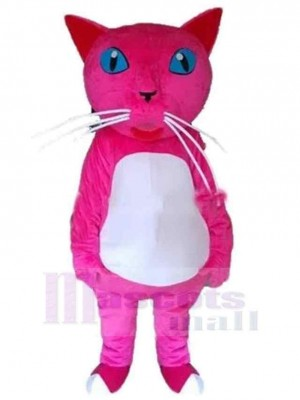 Blue Eyes Pink Cat Mascot Costume Animal with White Belly