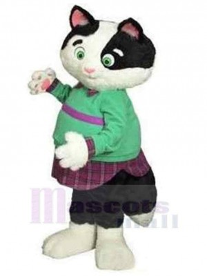 Fat Cat Mascot Costume Animal in Green Clothes