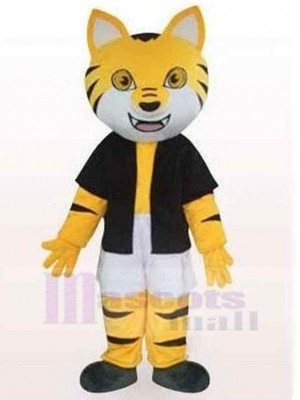 Black And Yellow Striped Cat Mascot Costume Animal in Black Clothes