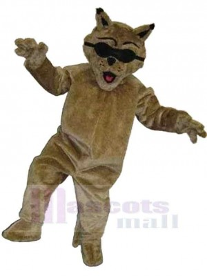 Cool Brown Cat Mascot Costume Animal with Black Sunglasses