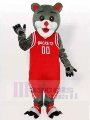 Happy Gray Cat Mascot Costume Animal in Red Basketball Clothes