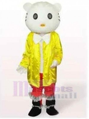 Hello Kitty Cat Mascot Costume Animal in Yellow Clothes