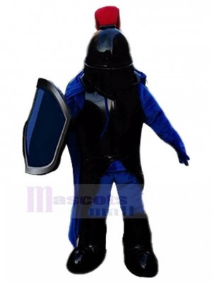 Cuirassier Knight with Black Armor Mascot Costume People