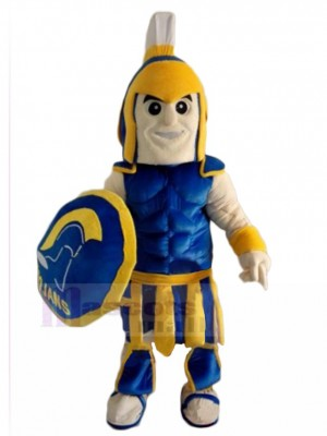 Blue and Yellow Spartan Trojan Knight Mascot Costume People