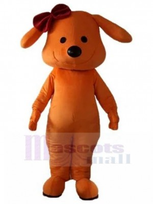 Cute Orange Dog Mascot Costume with Dark Red Rosette Animal