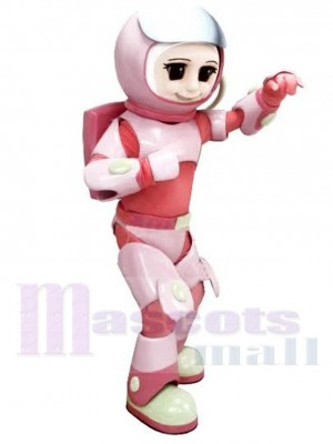 Astronaut Girl Mascot Costume in Pink Space Suit People
