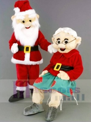 Mr. Santa Claus Father Christmas/Mrs. Santa Claus Mascot Costumes People