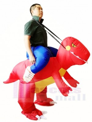 Red Dinosaur Carry me Ride On T-rex Inflatable Halloween Christmas Costumes for Adults