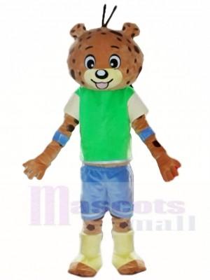 Green Shirt Blue Pants Leopard Panther Mascot Costumes Animal