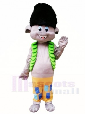 Trolls Black Hair Boy Branch Mascot Costumes Cartoon