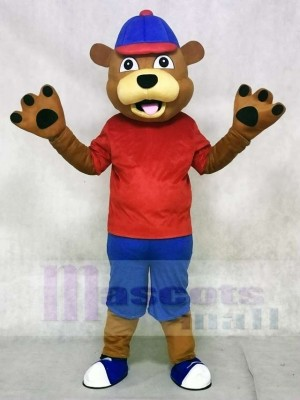 Red Vest Happy Brown Animal Bear Mascot Costumes Animal
