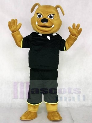 Brown Bulldog with Black Suit Animal Mascot Costumes