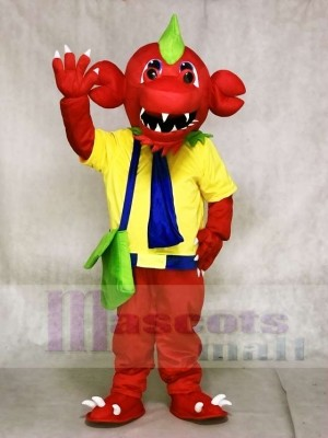Red Dragon with Yellow Shirt and Green Bag Mascot Costumes