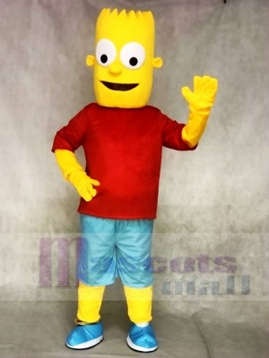 Red Shirt Bart Simpson Son Yellow Boy Mascot Costumes People