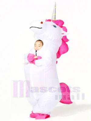 White Unicorn Inflatable Halloween Christmas Costumes for Kids