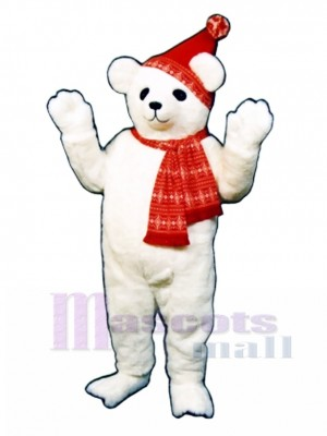 Snow Bear with Hat & Scarf Mascot Costume Animal
