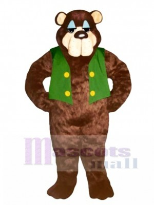 Cute Bramble Bear with Vest Mascot Costume Animal