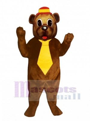Father Bear with Hat & Tie Mascot Costume Animal