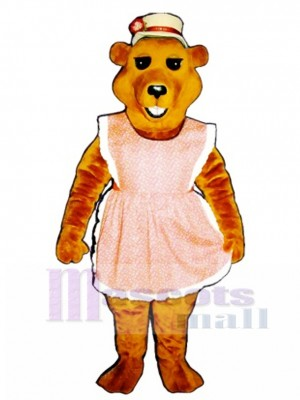 Cute Cheri Bear with Apron & Straw Hat Mascot Costume Animal