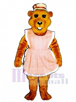 Cute Cheri Bear with Apron & Straw Hat Mascot Costume Animal
