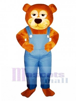 Cute Gardener Bear with Overalls Mascot Costume Animal