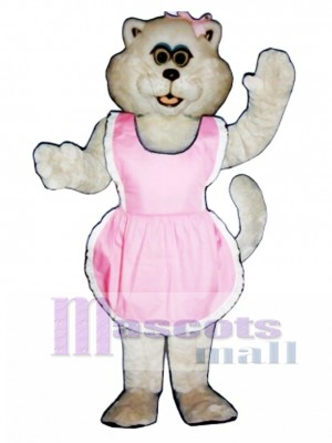 Cute Pussy Cat with Apron & Bow Mascot Costume Animal