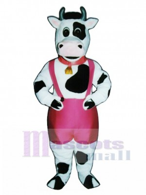 Cute Peter Porterhouse Cow with Paints, Bell & Collar Mascot Costume Animal