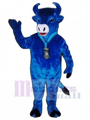 Cute Blue Belle Cattle Mascot Costume Animal