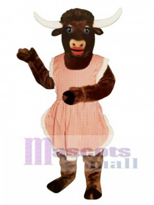 Lady Longhorn with Apron Christmas Mascot Costume Animal