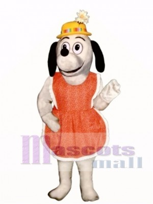 Cute Gertie Greyhound Dog with Apron & Hat Mascot Costume Animal