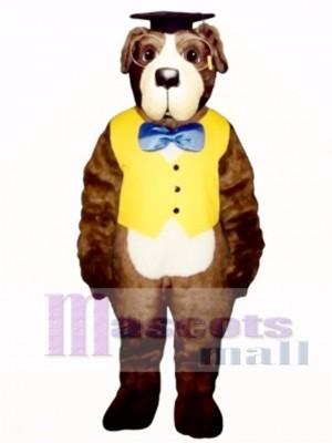Cute Professor Bernard Dog with Hat, Vest & Glasses Mascot Costume Animal