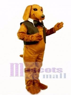 Cute Dachshund Dog with Vest & Tie Mascot Costume Animal