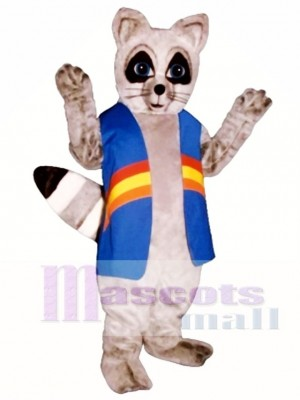 Rainbow Raccoon with Vest Mascot Costume Animal