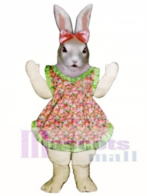 Easter Jill Bunny Rabbit with Apron & Bow Mascot Costume Animal
