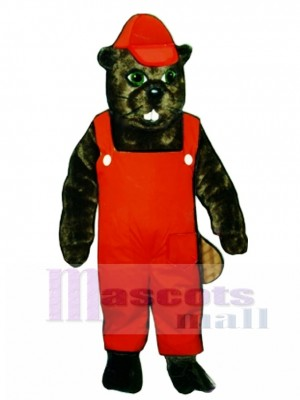 Lumberjack Beaver with Overalls & Hat Mascot Costume Animal