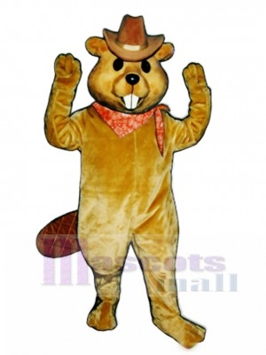 Western Beaver with Hat & Neckerchief Mascot Costume Animal