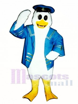 Cute Captain Duckling Duck with Jacket & Hat Mascot Costume Poultry