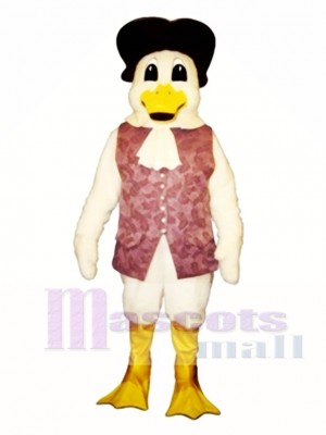 Cute Colonial Duck with Vest & Hat Mascot Costume Poultry