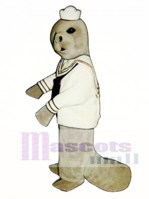 Cute Manatee with Sailor Shirt & Hat Mascot Costume Animal