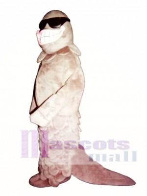 Cute Smiling Salmon with Sunglasses Mascot Costume Animal
