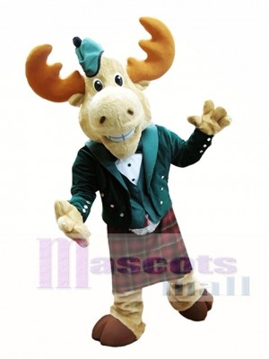 Bull Moose Mascot Costume Moose in Bellman Suit Mascot Costume Animal
