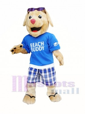 Dog with Sunglasses Mascot Costume Beach Buddy Dog Mascot Costumes Animal Cartoon