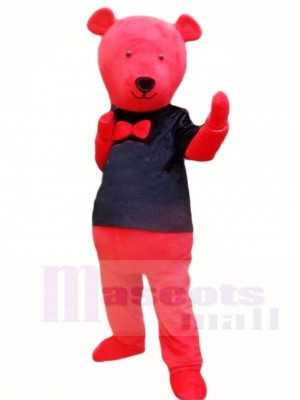 Red Teddy Bear in Black Shirt Mascot Costumes Animal
