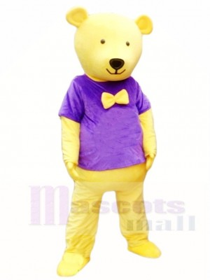 Yellow Teddy Bear in Purple Shirt Mascot Costumes Animal