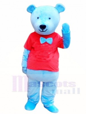Blue Teddy Bear in Red Shirt Mascot Costumes Animal