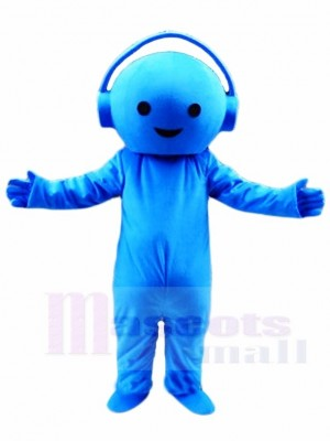 Blue Music DJ Boy with Headset Mascot Costumes People