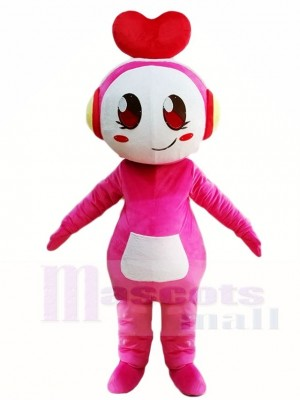 Pink Music Girl with Heart Headset Mascot Costumes People