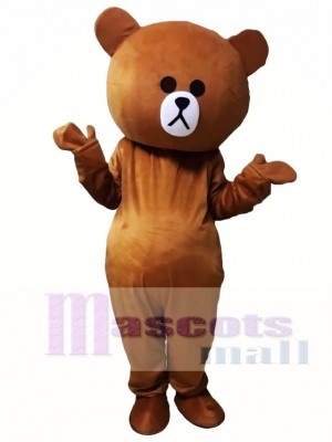 Brown Bear Mascot Costumes Line Town Friends