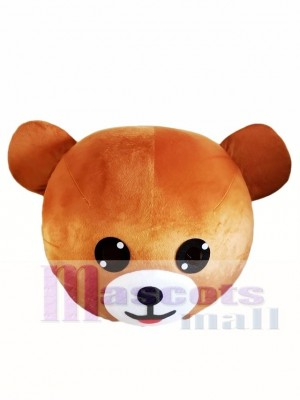 Laugh Smile Light Brown Bear Mascot HEAD ONLY Line Town Friends