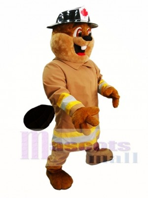 Beaver in Hat Mascot Costume Burny Beaver Mascot Costumes Animal
